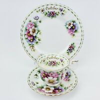 Royal Albert Flower Of The Month October Cosmo Tea Cup Saucer Dessert Plate Trio