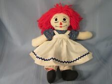 """vintage Raggedy Ann doll 15"""" embroidery sewn face"""