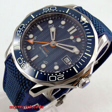 41mm bliger sterile navy blue dial GMT sapphire glass date automatic mens watch
