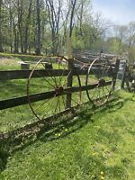 Antique Pair Large Cast Iron Wagon Wheels 56in Tall  Garden Driveway Art