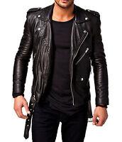 Men Leather Jacket Black New Slim Fit Biker Genuine Lambskin Jacket