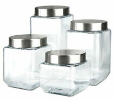 Farberware Set of 4 Variety Size Glass Canister Food Storage Container with...