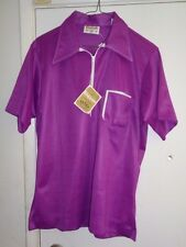 NOS KING LOUIE 50's-60's Purple +White Trim! 1/2 Zipper Double Knit ROCKABILLY M