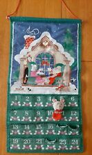 VINTAGE AVON COUNTDOWN TO CHRISTMAS ADVENT CALENDAR WITH MOUSE 1987 FABRIC GREEN