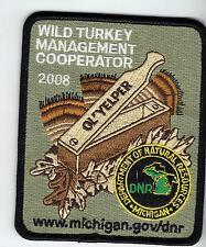 2008 MICHIGAN DNR SUCCESSFUL TURKEY-DEER HUNTER PATCH -HUNTING LICENSES- PINBACK