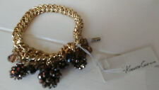 KENNETH COLE NEW YORK Gold Tone Stretch Bracelet Black Pewter Glass Beads