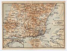 1913 ORIGINAL ANTIQUE MAP OF VICINITY OF LISBON / LISBOA / PORTUGAL