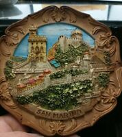 Vintage San Marino SNCO 3D Wood Resin Carved Souvenir Wall Plate