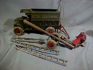VINTAGE HUBLEY CAST IRON BELL TELEPHONE TRUCK & ACCESSORIES, ORIGINAL.  9 INCHES