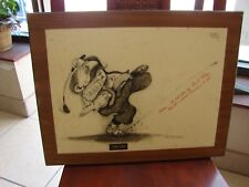 Gary Patterson Golf Print TEE OFF Comical Golfer on wood frame
