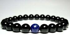 Black Onyx Lapis Lazuli Natural Gemstones Beaded Stretch Jewelry Bracelet J63