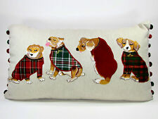 "Pier 1 Imports DOG TAPESTRY 24"" Linen Pillow Christmas Holiday Tartan Plaid"