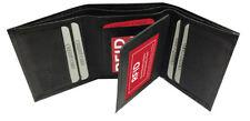 RFID Signal Blocking Leather ID Credit Card Safe ID Trifold Center Flap Black