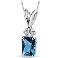"1.12 Ct Radiant Cut London Blue Topaz and Diamond Pendant in 14k White Gold 18"""