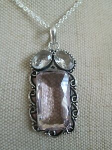 ~ Natural Faceted Clear & Pink Quartz Gemstone Pendant & Silver Plated Chain ~
