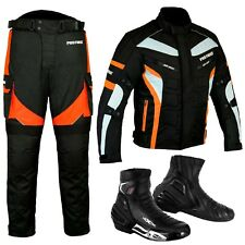 Motorbike Suit Orange Trouser Jacket Cordura Textile Leather Urban Style Boot