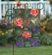 NEW Toland - Feast For a Hummingbird - Colorful Flower Bird Garden Flag