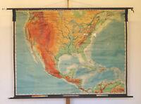 Wandkarte USA Vereinigte Staaten von Amerika kanada Mexiko 203x155 1960 vintage