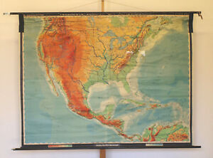 Wall Map USA From America Canada Mexico 203x155 1960 Vintage