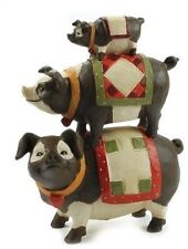 Blossom Bucket Stack Pigs w Quilts Stacked Primitive Folksy Decor 83902