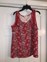Maurices Brand Sleeveless Top, Red With Paisley Print, Size Medium, New, W/Tags