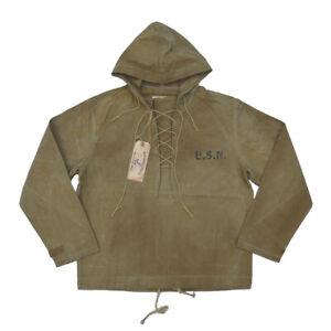 BOB DONG US Navy Foul Weather Deck Parka Vintage Waxed Cotton Rain Jacket Smock