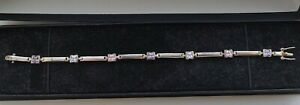 Purple  Pink White Stone Sterling Silver Bracelet  Stamped  L3
