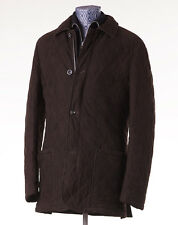 NWT $7900 CESARE ATTOLINI Quilted Chocolate Suede Leather Field Coat 50/40 (M)