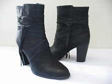 NEW! Vince Camuto Black Leather Fringe Booties Ankle VP-FERRAH Boots 9 M $180
