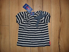 LITTLE LINENS BABY GIRL NAVY STRIPE 100% COTTON BOW DETAIL TOP AGE 12-18MTHS NEW