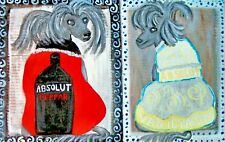 Dog Pop Art Print 5 x 7 Absolut Chinese Cresteds by artist Ksams Chinese Crested