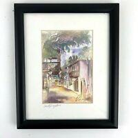 Framed Matted Watercolor Print Art St Augustine FL Street American Flag SIGNED