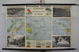 Schulwandkarte Wall Map Card Australia Kiwi Inselwelt Islands Insel 99x66 ~ 1960