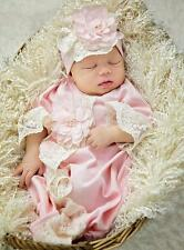 New Girls Boutique Haute Baby sz 0-3m CHIC PETIT Lace Newborn Gown Headband set