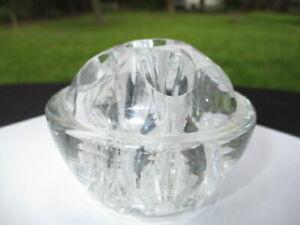 MID CENTURY MOLDED GLASS DOMED FLOWER FROG ARRANGER OR CANDLE HOLDER 6 HOLE