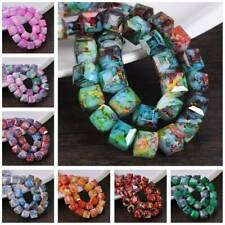 10pcs 8mm 10mm Patterns Cube Glass Faceted Loose Crafts Beads Jewelry Findings