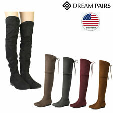 DREAM PAIRS Women's Lady Over The Knee Flat Boots High Calf Leg Winte Boots
