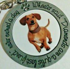 Purse Accessory With Inscription Adorable Dog Dachshund Keychain Or