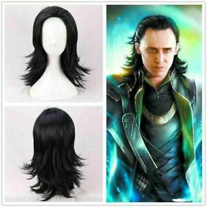 Anime Movie Loki Cosplay Black Wig Infinity War Thor Hair Halloween Role Play
