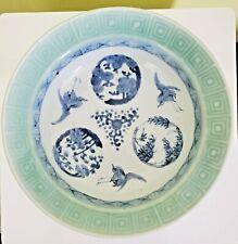Antique Japanese Porcelain Bowl Arita Ken Qianlong Mark Large Dish