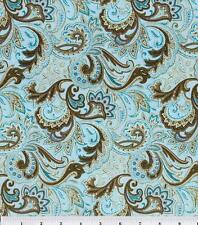 NEW!  Aqua and Brown Paisley Cotton Fabric ~ by the HALF YARD
