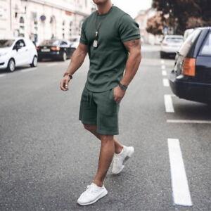 Mens Short Sleeve Tops + Shorts Tracksuit Set Casual Sportswear Pajamas Suits