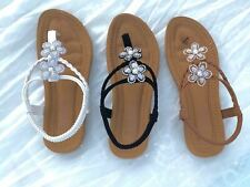 Women Flat Sandals Ladies SummerFlip Flops Shoes Black Tan White Flower size