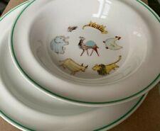 "Vintage Arabia Finland Child's Dinnerware ""Animals on Parade"" 1 Plate, 3 Bowls"