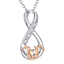 """2-TONE925 Sterling Silver Infinity Knot """"Mom"""" Necklace with CZ Mothers Day Gifts"""
