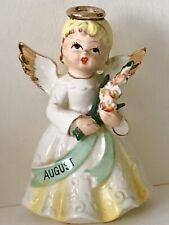 Vintage 1950s August Birthday Angel Figurine Japan Ceramic Porcelain Heavenly