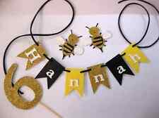 Personalised Cake Bunting AND Number - cake topper, Glitter Bumble Bee PARTY