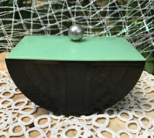 Rare Art Deco Machine Age Green Black Bakelite Covered Trinket Box 1935 Moon Shp
