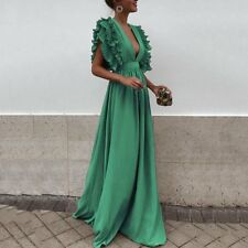 Plus Size Womens Plunge V Neck Evening Party Long Dress Cocktail Ball Prom Gown
