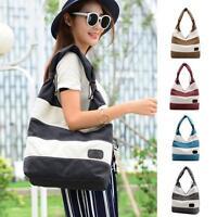 New Women Fashion Stripe Handbag Shoulder Bag Large Tote Ladies Purse Canvas Bag